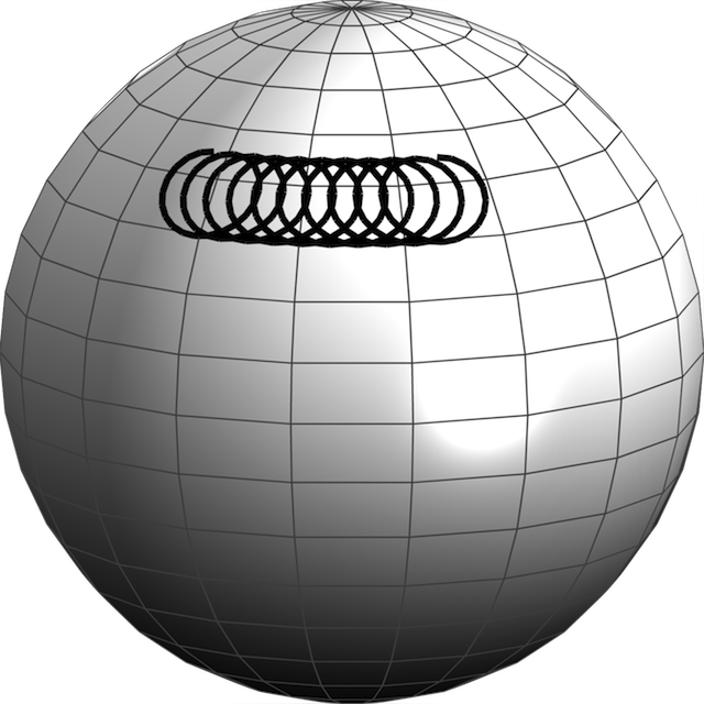 The path of a particle constrained to the surface of the earth, launched at due east at 70 meters per second from latitude 45. The particle makes clockwise oscillations and slowly drifts westward.